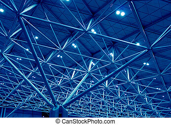 Blue support structure - Building roof metal support...