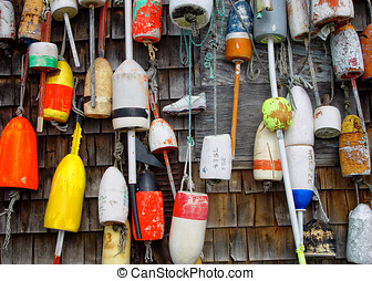 Lobster Buoys - A colorful collection of lobster buoys...