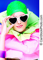 green cap - Fashion shot of an extravagant model