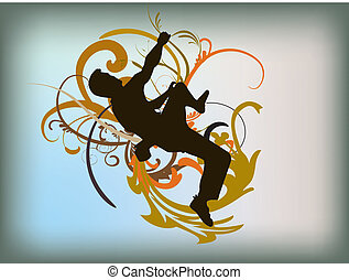 Climber silhouette with swirls and curls on background