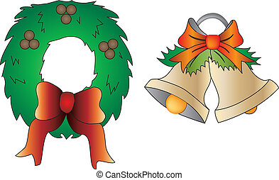 Christmas ornaments - two vector illustration of christmas...
