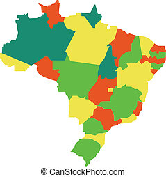 Brazil - vector map of Brazil with regions and states
