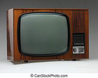 old tv set on gray background - vintage black and white tv...