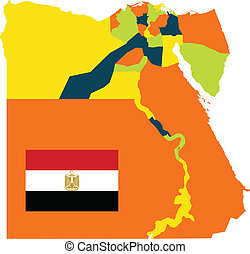 Egypt Governments - High detailed map of Egypt with...