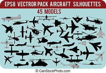 airplanes silhouettes - Various pack with silhouettes of...