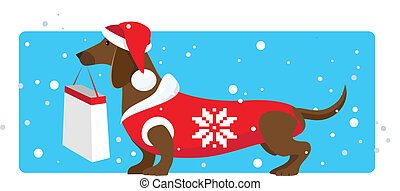 Christmas shopping helper - Vector illustration of a dressed...