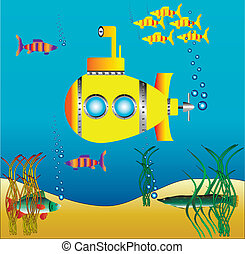 Yellow submarine under water surrounded by fish and sea...