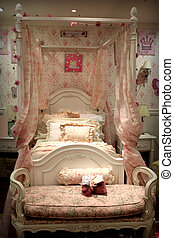 old style bed with ornaments