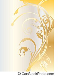 Gold celebration banner - Gold card with floral ornaments...