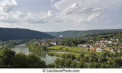 aerial view around Wertheim - panoramic scenery around a...