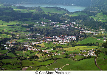 aerial scenery at the Azores - panoramic aerial view at Sao...