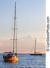 Yachts - Two yachts in a sea