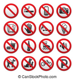 Prohibited Signs - Simple Prohibited Signs Set on white...