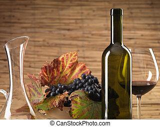 rouges, vin, bouteille, verre, Raisins, carafe, rustique