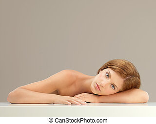 beauty portrait of young woman relaxing