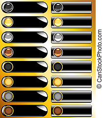 Collection of black web buttons