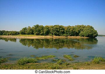 Danube island - Island on Danube river, near Cernavoda City,...