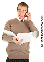 Surprised man with documents and phone
