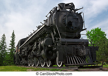 "Historic Steam Powered Freight Train - An historic ""4-8-4"",..."
