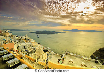 view of Fira town - Santorini  Greece