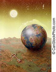 visions with map and globe - picture painted by me named...