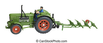 nostalgic toy tractor with plowshare - a nostalgic toy...
