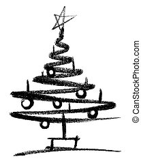 christmas tree sketch - crayon-painted christmas tree in...