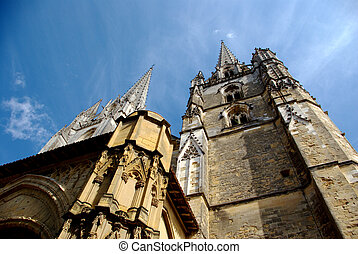 Low-angle view of Bayonne cathedral - Low-angle view of...