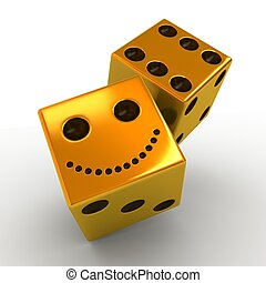 two smiling golden dice on white background