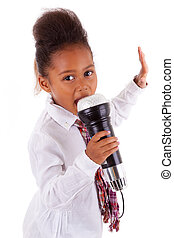 Cute little African Asian girl singing - Cute little African...