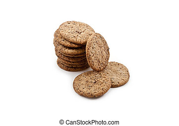 Stack of cookies on a white background