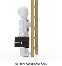 3d business man hold ladder