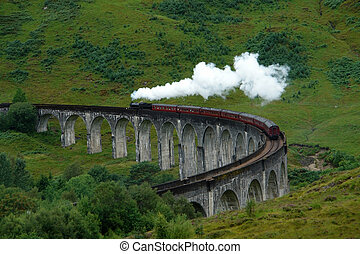 Glenfinnan Viaduct with steamtrain - the Glenfinnan Viaduct...