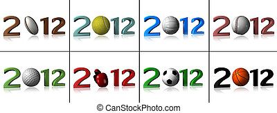 Eight 2012 sport designs on white background