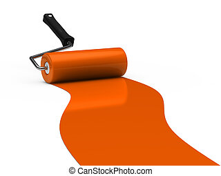 3d paint roller orange color ground white