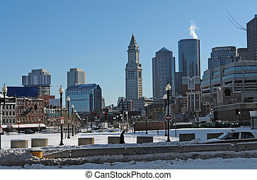 Boston city scenery at winter time - panoramic city view of...