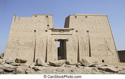 ancient Horus temple - facade of the Horus temple in Egypt