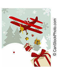Christmas greeting card - Santa Claus delivering gifts from...