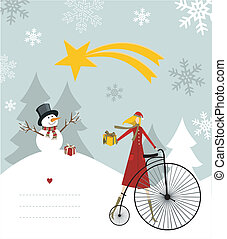 Snowman and star of Bethlehem card. - Snowman with star and...