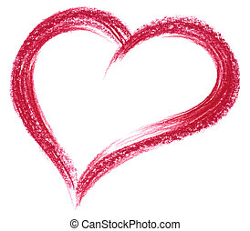 red crayon heart - love theme with a crayon painted red...