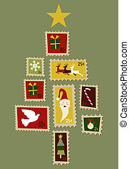 Christmas tree stamp.