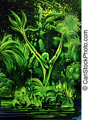 surreal green plant - picture painted by me, named Outgrow,...