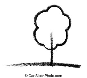 deciduous tree sketch - crayon-painted tree icon in white...