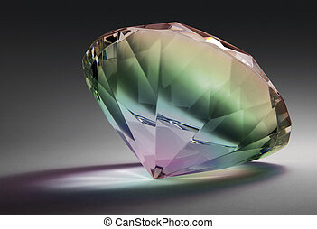 rainbow colored diamond - studio photography of a glass...