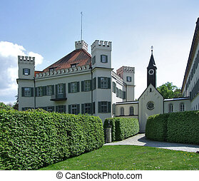 Possenhofen Castle in sunny ambiance - pictorial castle...
