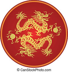 Dragon year 2012. Chinese zodiac - Illustration - two...