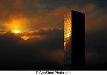 Sunrise skyscraper - Editable vector illustration of a...