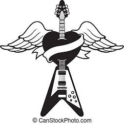 Tattoo-style Guitar logo - Illustration of a guitar piercing...