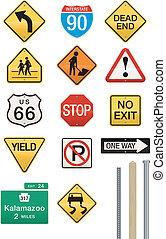 Conjunto, 14, carretera, señal, vectores