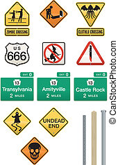 Set of 12 Halloween Sign Vectors - Humorous street signs...
